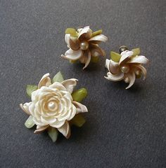 Handmade Shell and Faux Pearl Earrings and Pin by queenofsienna
