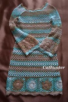 Inspirações de Croche com Any Lucy: Vestido. Dress with chart pattern.