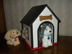Dog house or pet house for American Girl or 18 inch doll  pets for  BOYS and GIRLS black red white via Etsy.