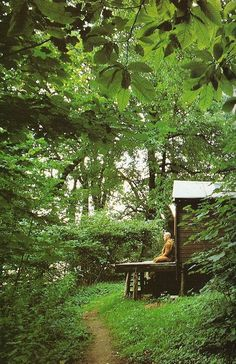 """Someday I shall have a teeny meditation house out in the woods/at the edge of the garden /secret """"zen"""" garden :) Meditation Garden, Meditation Space, Mindfulness Meditation, Zazen Meditation, Dojo, Buddha Buddhism, A Course In Miracles, Reiki, Beautiful Places"""