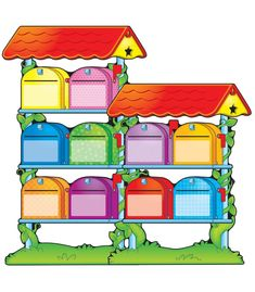 """This colorful, job-themed bulletin board set includes:    5 shelves with 2 mailboxes each (shelves approx. 15.5"""" x 8.25"""")  2 mailbox bases (17.75"""" x 8.75"""")  40 envelopes  2 red roofs  2 bugs  1 snail  2 birds  1 accent mailbox  A resource guide"""