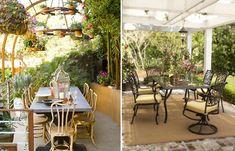 Gemütliche und schöne Essecke im Garten mit Pergola