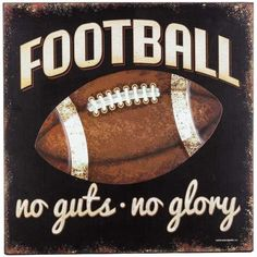 Kick off a perfectly-decorated man cave or sports-themed bedroom with this Football Wood & Embossed Metal Wall Plaque! This distressed black MDF plaque features whtie and tan text and a distressed emb Football Room Decor, Boys Football Room, Football Bedroom, Football Crafts, Football Birthday, Football Stuff, Wall Decor Online, Wood Wall Decor, Chalkboard Art