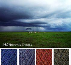 April showers color palette featuring Harrisville Designs FlyWheel yarn: Aquifer, Silver Lake, Monarch, Spoonwood.