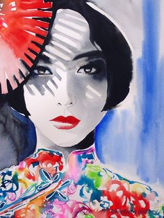 Tokyo Fashion Illustration Original Watercolor Painting Geisha Japan Art