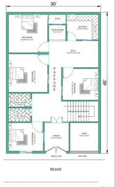 2bhk House Plan, Free House Plans, Model House Plan, House Layout Plans, Floor Plan Layout, Bungalow House Plans, Family House Plans, 5 Marla House Plan, House Layouts