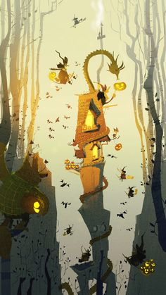 Lovely Halloween illustration by Pascal Campion Halloween Illustration, Art And Illustration, Illustrations Posters, Halloween Images, Halloween Art, Halloween House, Fantasy Kunst, Fantasy Art, Pascal Campion