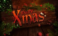 Download wallpapers Merry christmas, art, Happy New Year, wooden background, christmas, xmas, merry xmas