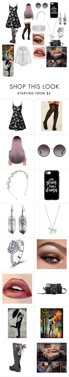 """""""Caught In The Rain During Spring"""" by sweetheart-the-moonbear ❤ liked on Polyvore featuring Dolce&Gabbana, Cara, Casetify, Graff, Estella Bartlett, Hunter and Joules"""