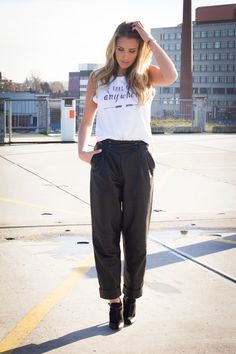 This all we want! Vintage leather slick me up pants, take me anywhere top and on point heels shop all @ www.myfavouritemusthaves.com
