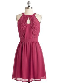 Where Gem Girls At? Dress. All your pals are accounted for, youre feeling sassy in this pink-garnet-hued frock - and girls night out is off to a fabulous start! #pink #modcloth