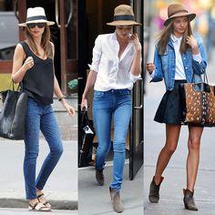 Miranda Kerr é fã de chapeu, em seu street style a peça se torna um must have