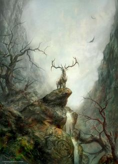 The Deer Lord, the sacred stag High Fantasy, Fantasy World, Fantasy Art, Art And Illustration, Flora Und Fauna, Deer Art, Fantasy Landscape, Mythical Creatures, Concept Art