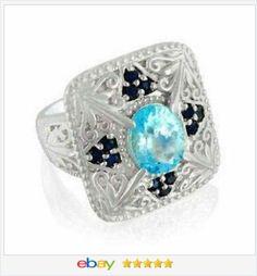 London Blue Topaz Princess Band Ring 3.00 carats size 7 USA SELLER ...