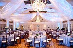 Lakeside theme wedding at Lafayette Club, ceiling draping, chivari chairs and bright lighting | Linen Effects - MInneapolis, MN | wedding, party, and event rental décor www.lineneffects.com #lafayetteclub #Lafayette Photo by Kelly Brown Weddings