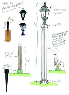 Outdoor Solar Lamppost DIY - Home & Family . Outdoor Solar Lamppost DIY - Home & Family More Best Picture For Solar light crafts yards For Your Taste You are looking for something, and it is going to tell you exactly what you are looki Diy Solar, Solar Light Crafts, Solar Lights, Path Lights, Landscape Lighting, Outdoor Lighting, Lighting Ideas, Outdoor Lamps, Solaire Diy