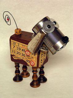 Assemblage Art Junkyard Dog Have you seen my dog? Metal Yard Art, Scrap Metal Art, Found Object Art, Found Art, Assemblage Kunst, Junkyard Dog, Recycled Robot, Arte Robot, Paperclay