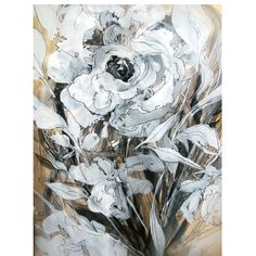 Black and White Mixed media abstract flower drawing