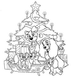 DISNEY COLORING PAGES, Lady and the tramp family