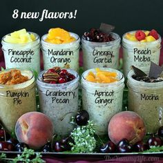 8 New Overnight Oatmeal Flavors...get a set of the J66000 Ball Pint Widemouth Jars so that you'll always have great breakfast options!  http://www.fillmorecontainer.com/Ball-Wide-Mouth-Pint-Mason-Jars-16-oz-with-Bands-Lids-P183.aspx?g=true Cooked Oatmeal Recipe, Oatmeal Flavors, Healthy Oatmeal Recipes, Cooking Oatmeal, Healthy Snacks, Oats Recipes, Grab And Go Breakfast, Breakfast Options, Breakfast Recipes