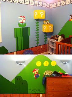 Many different takes on a kids video game themed room -- for a boys room someday?