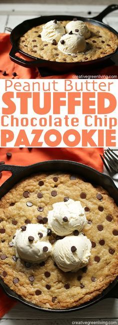 Learn how to make this peanut butter stuffed chocolate chip pazookie recipe at home - this giant oven baked skillet cookie is perfect topped with vanilla ice cream. YUM!