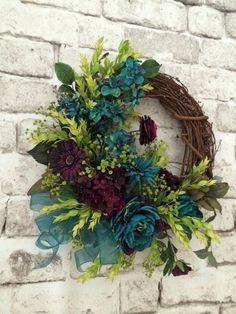 Teal and Plum Wreath for Front Door
