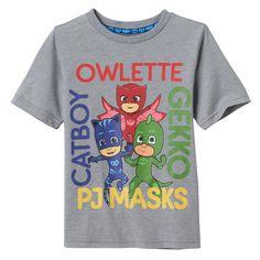 Toddler Boy PJ Masks Owlette, Gekko & Catboy Names Graphic Tee, Size: 2T, Grey
