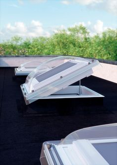 Got a room with a flat roof? Add roof domes - these remote control windows will allow fresh air as well as daylight into your room. Flat Roof Skylights, Roof Dome, Condo Bathroom, Roof Extension, Making Space, Roof Window, Light Well, Storey Homes, Roof Light