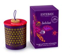 Esteban Paris Jathikaï Refillable Scented Decorative Candle with a spicy woody scent, at Copper Strawberry, USA