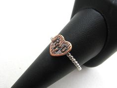 Personalized Initials Heart Ring in Woodgrain Tree by BooBeads