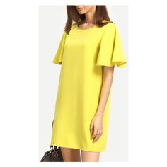 Bell Sleeve Shift Dress (46 PEN) ❤ liked on Polyvore featuring dresses, short-sleeve dresses, yellow day dress, yellow dresses, short sleeve dress and shift dress
