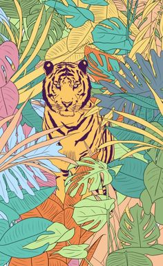 I love this colorful Tiger Art Print! Had a lot of fun drawing this guy