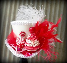 Candy Themed Peppermint Swirl Mini Top Hat, Moulin Rouge Top Hat, Mad Hatter Hat, Alice in Wonderland, Kentucky Derby Hat, Royal Ascot Hat