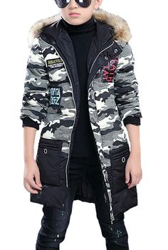 Cocominibox Boys Hit Color Padding Camouflage Faux Fur Hoodie Trench Jacket Outerwear (130cm/5Y, Black). Smaller Asian size 120cm-160cm available. Please refer to the size chart we provided and select a correct size base on the parameter in the second image. Trendy Wadding Cotton Trench Jacket Faux Fur Hooded Coat For Boys. Material: Cotton / Padding: 71%-80% Cotton. Fabric Workmanship: Softening, Liquid Ammonia Finish Fabric. Seasons: Winter.