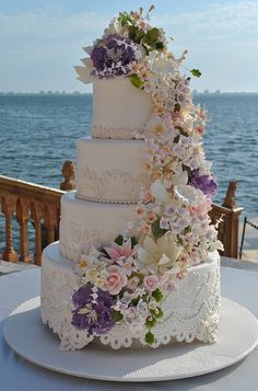 Lace wedding cake_Ca d'Zan-TheCakeZone10 | Flickr - Photo Sharing!