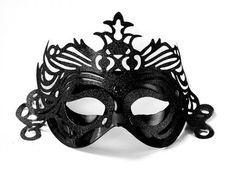 Škraboška čierna s ornamentom Party Deco, Skull, Products, Carnival, Costumes, Black Trim, Mask Template