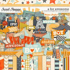 A For Awesome Digital Scrapbooking Kit by Zoe Pearn & Shawna Clingerman http://www.sweetshoppedesigns.com/sweetshoppe/product.php?productid=25225 $8.99