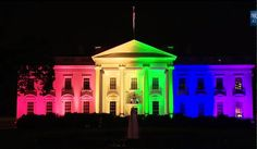 @whitehouse in rainbow colors tonight to mark SCOTUS ruling legalizing same-sex marriage. #LoveWins nationwide