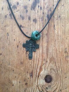 Vintage Bronze Cross Necklace by MalloOriginals on Etsy