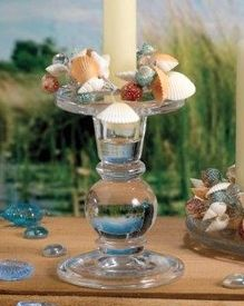 Seashell Ring Glass Taper Candle Holders, Set of 6