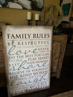 Family Rules. This is great! Can get your last name custom done to put over the top too if wanted. Might hang this in our entryway or play room!