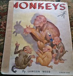 Monkeys by Lawson Wood, copyright 1936 Whitman Publishing Co