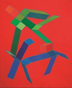 Achille Perilli (Italian, b. 1927), Il crogiuolo delle ombre [The crucible of the shadows]. Acrylic on canvas, 100 x 89 cm.