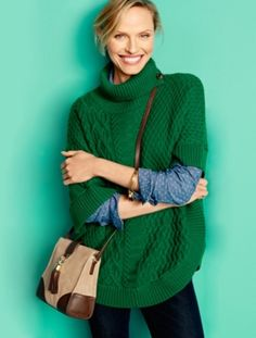 Talbots - Mix-Stitched Turtleneck Poncho   View All Accessories  