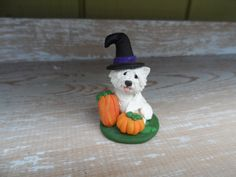 West Highland White Terrier Halloween Sculpture Hand Sculpted dog polymer clay by Raquel at the WRC on Etsy, $24.00