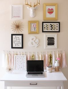 Pink and gold office and gallery wall inspiration. pink and gold office and gallery wall inspiration girl wall decor, diy home decor bedroom Diy Home Decor Bedroom For Teens, Room Decor For Teen Girls, Diy Home Decor Rustic, Home Office Decor, Bedroom Decor, Wall Decor, Bedroom Wall, Office Setup, Office Ideas