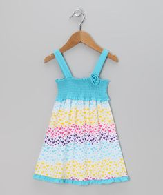 Take a look at this Aqua Heart Shirred Dress - Infant, Toddler & Girls by Buster Brown & Co. on #zulily today!