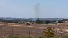 San Luis Rey River Bed fire just when it started. Tuesday 5/13 / 2014