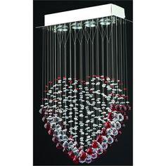 Kristal Taşlı Kalp Modeli Modern Avize| Modern Avize Modelleri